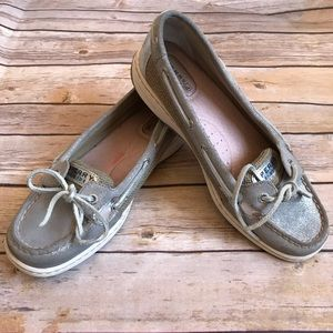 🌲5/$25 Speedy Top Sider Silver Boat Shoes